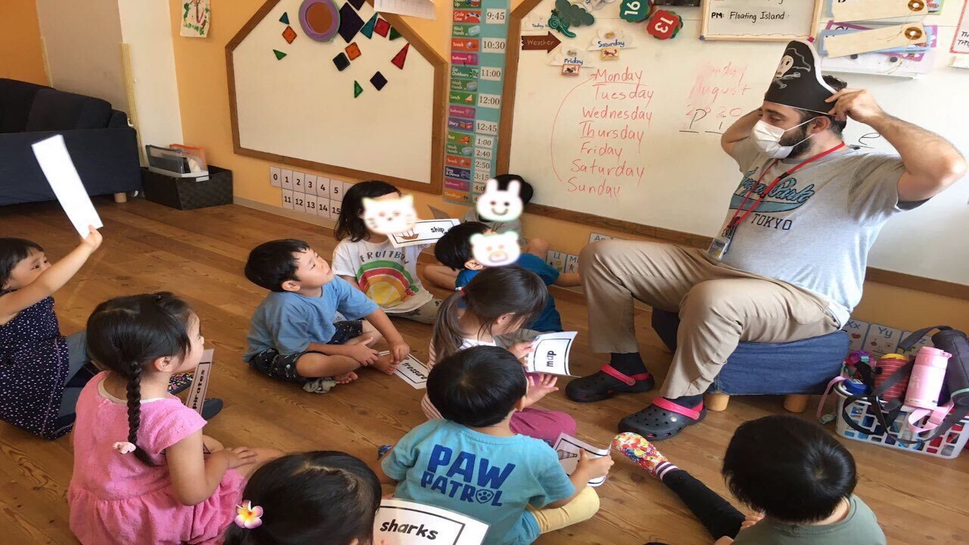 teacher and kids at english preschool tokyo